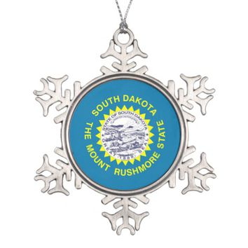 Snowflake Ornament with South Dakota Flag