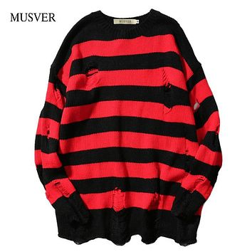 MUSVER 2017 Autumn Winter Fashion Ripped Stripe Knit Sweaters Men Hip Hop Hole Casual Pullover Male Loose Long Sleeve Sweaters