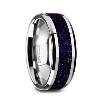 Logan Beveled Tungsten Purple Goldstone Inlay Wedding Ring With Brushed Center - 8mm