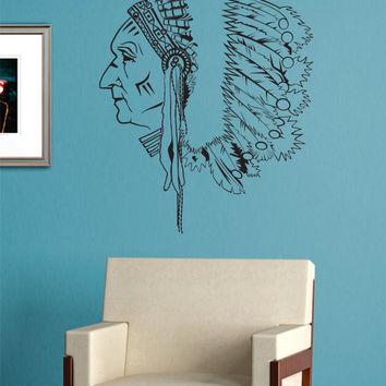 Indian Chief Version 1 Native American Decal Sticker Wall Vinyl Decor Art