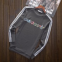 """Adidas"" Multi-color Letter and Logo Print Long Sleeve Sweater(5-Color) Grey I-YSSA-Z"