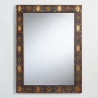 Medallion Brass and Wood Anya Mirror