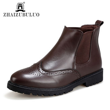 ZHAIZUBULUO Men Chelsea Boots Slip On Brogue Ankle Boots Brand Leather Motorcycle Martin Boots Oxford Casual Shoes Chukka Shoes