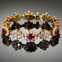 Contemporary Estate Jewelry, French Jewelry, Ruby and Diamond Floral Bracelet ~ M.S. Rau Antiques