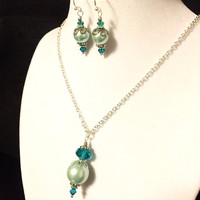 Aquamarine Necklace and Earring Set - Aqua Teal Glass Pearls with Teal Crystals and Silver Bead Caps on Silver Chain and Earring Hooks