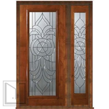 Prehung Side light Door 80 Wood Alder Hillsborough Full Lite Glass