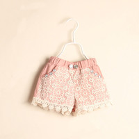 Girls Shorts 2017 Summer Lace Flower Girl Short Pants Ruffle Kids Trousers Baby Girls Pants Board Shorts Children Clothing Pink