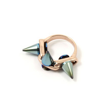 Future Perfect Ring with 3 Spikes - Rose Gold/Blue Spikes
