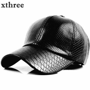 DCCKWJ7 Xthree fashion Baseball Cap women fall faux Leather cap hip hop snapback Hats For men winter hat for women