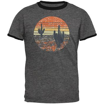 Vintage Cactus Sunset Mens Ringer T Shirt