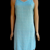 Women's turquoise colour strapped exclusive patterned soft cotton summer slip dress, summer tunic dress, beach tunic dress.