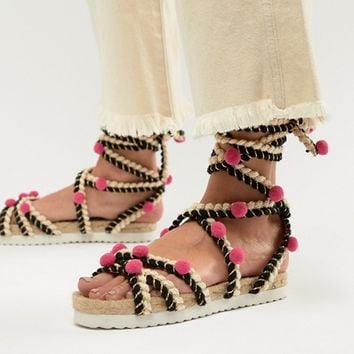 ASOS DESIGN Just Play Pom Sandals Espadrilles at asos.com