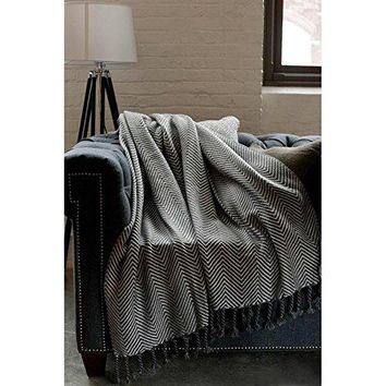 Ben and Jonah Sophia Throw Blanket With Fringe Twists (Charcoal/Slate)