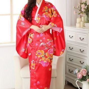 Vintage Retro Luxurious Japanese Garment Kimono Cosplay Costume Yukata Gown Red