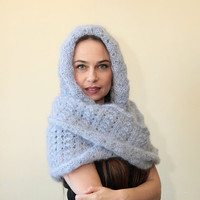 INFINITY HOODED SCARF Extra Long Mohair Scarf with Hood in blue grey hand knit Body Wrap by Solandia, knitting accessories winter fashion