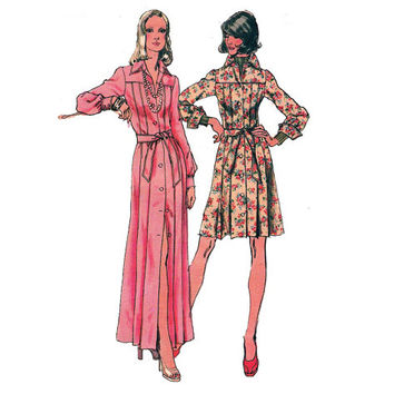 1970s Pleated Shirt Dress and Maxi Simplicity 5909 Vintage Sewing Pattern Size 16 Bust 38 inches