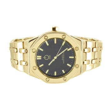 Mens Forza Watch AP Style Metal Band Black Dial 14k Yellow Gold Finish