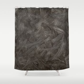 Black And White Brushstrokes Abstract Pattern Shower Curtain by Corbin Henry