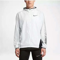NIKE Fashion Print Logo Long Sleeve Prevent Bask In Clothes Zipper Coat G-YF-MLBKS