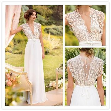 Elegant  A-Line See-Through White Lace Wedding Dress