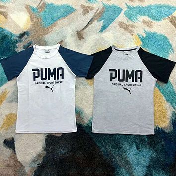 PUMA men and women couples casual retro college style color matching short sleeves F-XMCP-YC