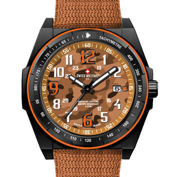 Swiss Military by R 50505 37N OR Commando Men's Watch Orange Camo Dial