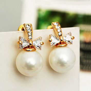 Pearl and Bow with Full Rhinestone Earrings - LilyFair Jewelry