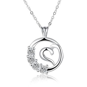 Curved Heart Pendant Swarovski Elements Necklace in 18K White Gold