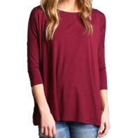 Dark Maroon Piko 3/4 Sleeve Top
