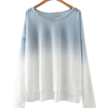 Long Sleeve Ombre High-Low Top