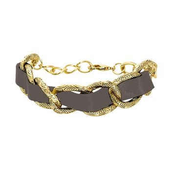 House of Harlow 1960 Jewelry Leather Engraved Link Bracelet