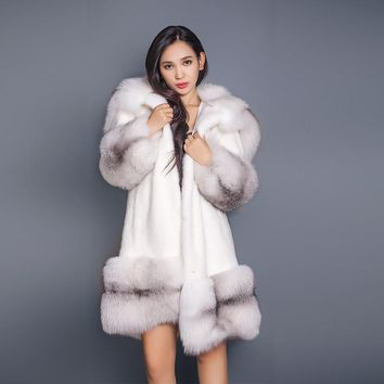 90cm Long Russian Sable Fur/Cross Fox Fur Hoodies XL Large Full Length Mink Coat Real Fur Parka  Plus Sliver Fox Fur Cuffs