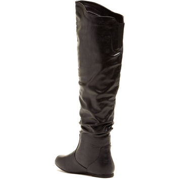 Carrini CA Collection Women's Fashion Slouchy Over-the-Knee Boots, 8.5, Black