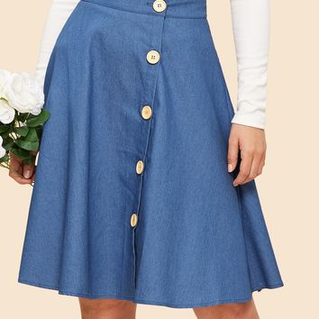 Blue Button Up Circle Midi Skirt