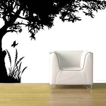 "72"" Whimsical shade tree butterfly grass family corner branches tree leaves curly wall mural decal stencil"