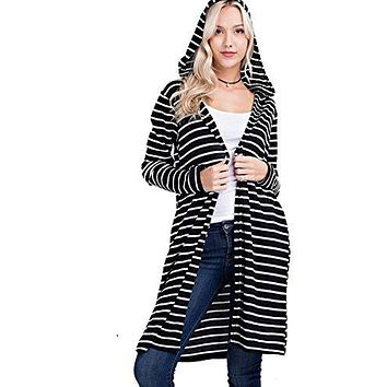 Mittoshop Women's Long Striped Thermal Knit Hooded Cardigan with Pockets