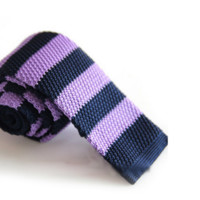 Light Purple and Blue Knit Striped Knit Tie