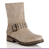 Taupe Studded Moto Boots