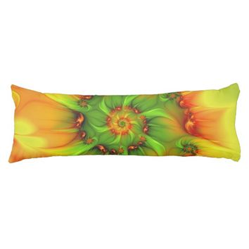 Hot Summer Green Orange Abstract Colorful Fractal Body Pillow