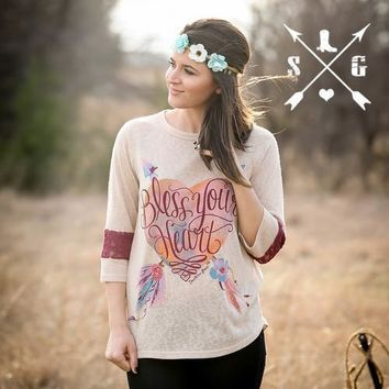 Southern Grace Bless Your Heart on Beige with 3/4 Sleeves