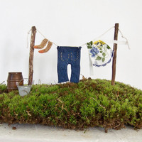Fairy Garden Clothesline with Clothes Gnome Elf Garden Woodland Fantasy Washing Line Miniature Clothing