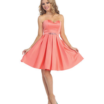 Coral Strapless Pleated Sweetheart Dress 2015 Prom Dresses