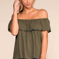 Alley Off The Shoulder Top - Olive