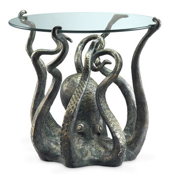 SPI HOME Glass Topped End Table with Fearsome and Exotic Octopus Sculpture