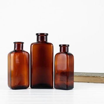 Vintage Amber Glass Medicine Bottle Collection, Large Medicine Bottles, Old Bottles, Apothecary Bottles, Home Decor