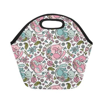 Cute Cats Flowers Neoprene Lunch Bag/Small (Model 1669)