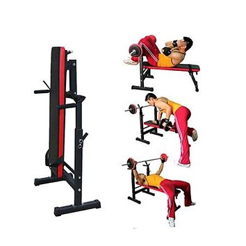 Adjustable Portable Folding Weight Bench Barbell W/ Dip Station Lifting Chest Press Weight Lifting Flat Incline Bench Fitness Workout Bench Sit Up bench