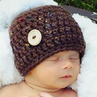 Little Mister Button Hat Dark Brown Tweed by BeautifulPhotoProps