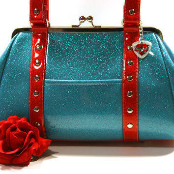 Rockabilly Purse, Glitter Vinyl Handbag, Sky Blue and Ruby Red Sparkle Vinyl - MADE TO ORDER