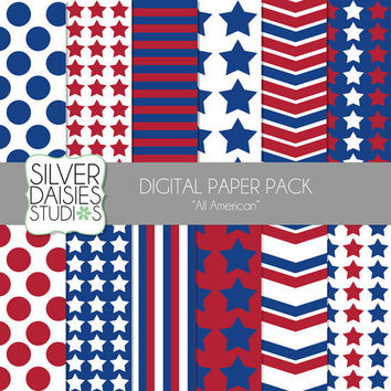 "American Digital Paper 12 Pack INSTANT DOWNLOAD - 12""x12"" All American Independence Day Themed Set - Digital Scrapbooking - red, white, blue"